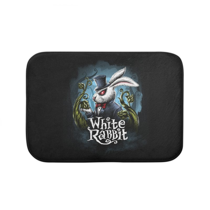 white rabbit in Bath Mat by artfanat.shop