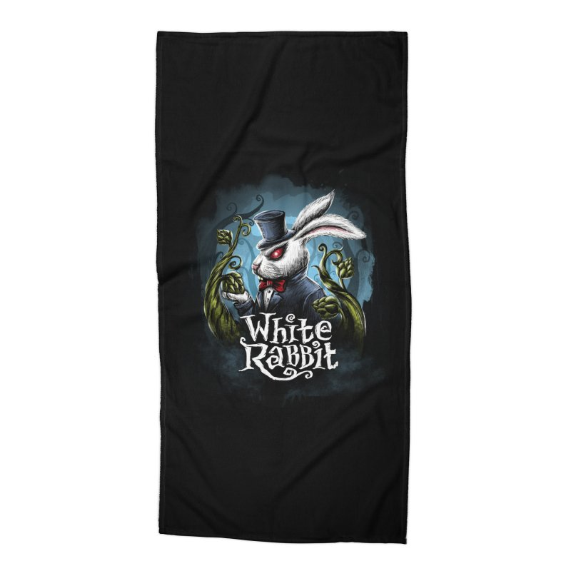 white rabbit in Beach Towel by artfanat.shop