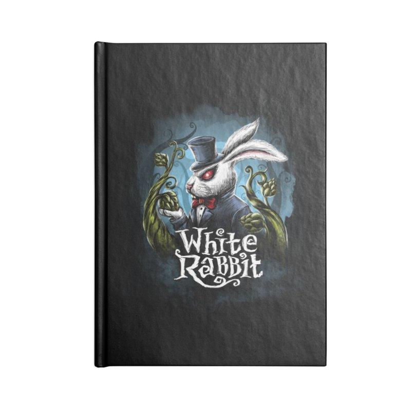 white rabbit in Blank Journal Notebook by artfanat.shop