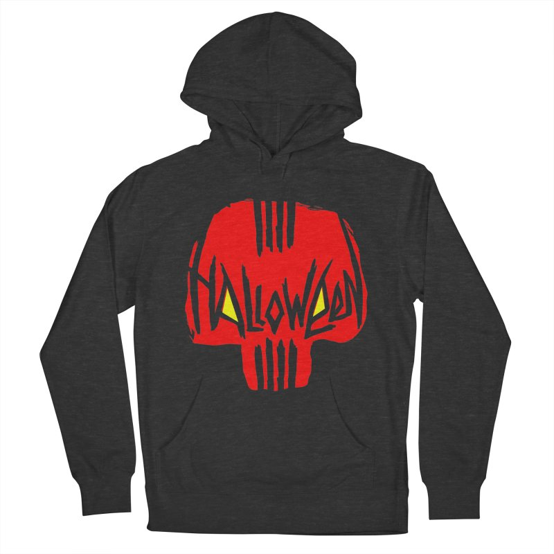 Red skull Women's French Terry Pullover Hoody by artfanat.shop