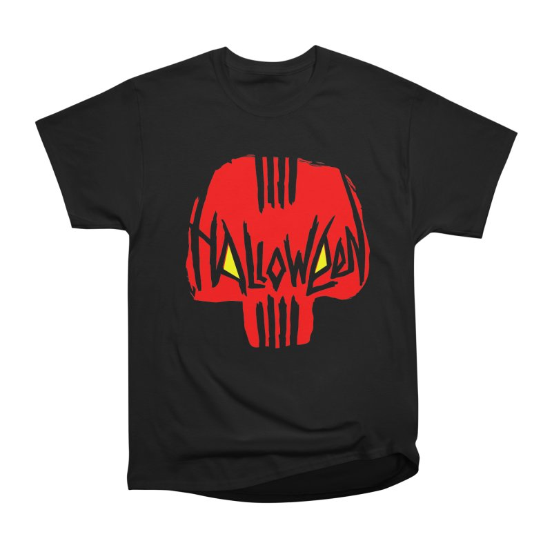 Red skull Women's Heavyweight Unisex T-Shirt by artfanat.shop