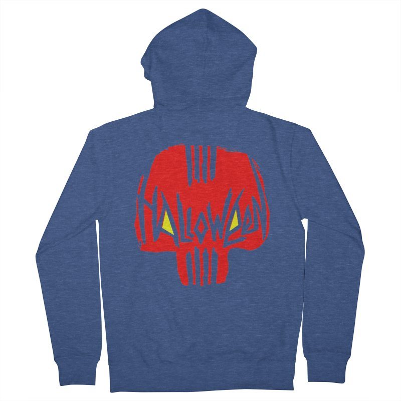 Red skull Women's French Terry Zip-Up Hoody by artfanat.shop