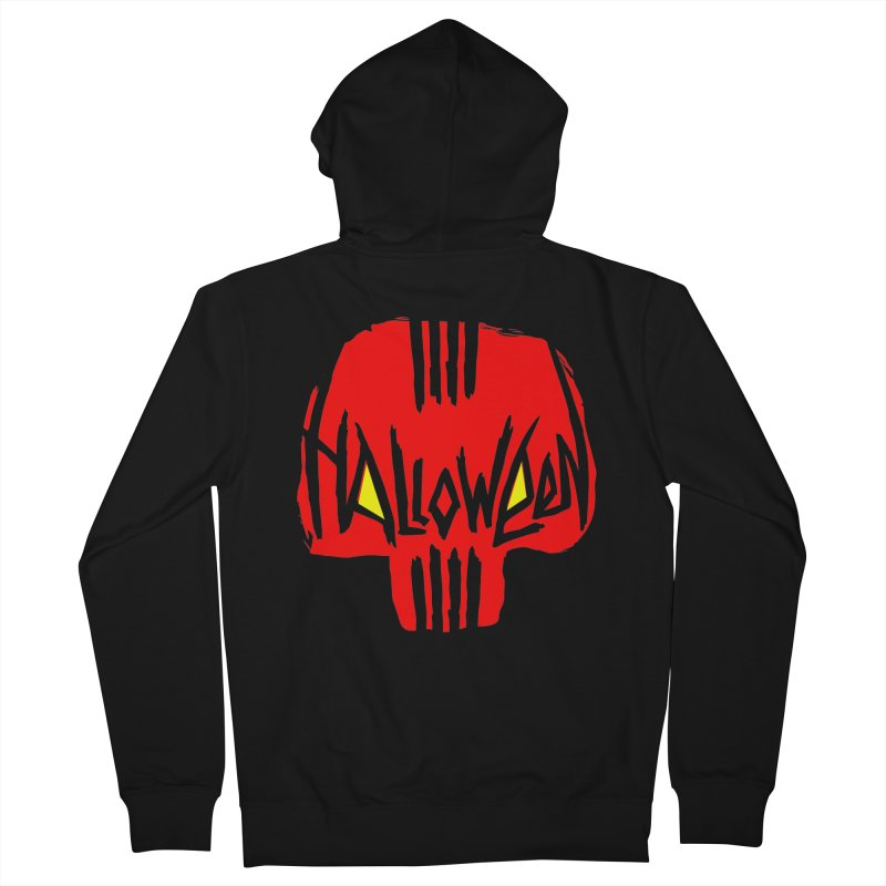 Red skull Men's French Terry Zip-Up Hoody by artfanat.shop