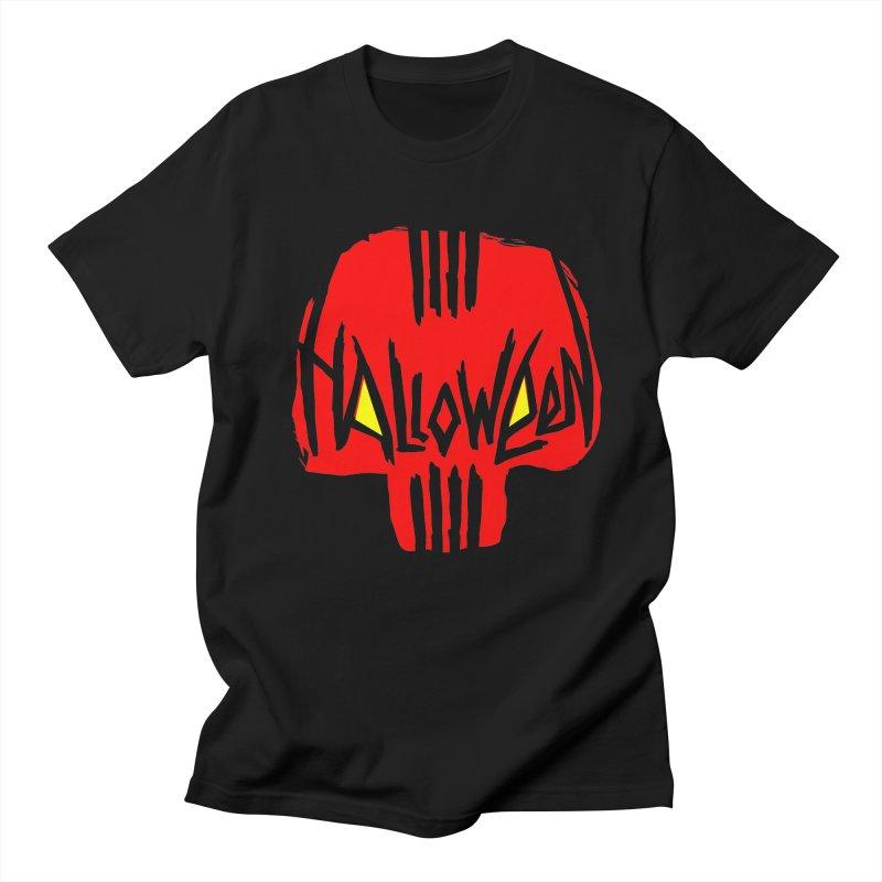Red skull Women's Regular Unisex T-Shirt by artfanat.shop