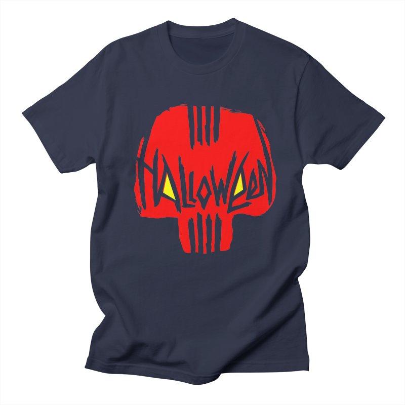 Red skull Men's Regular T-Shirt by artfanat.shop