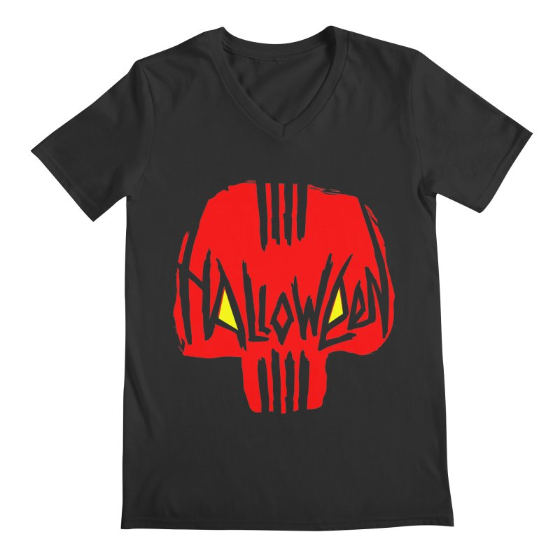 Red skull Men's Regular V-Neck by artfanat.shop