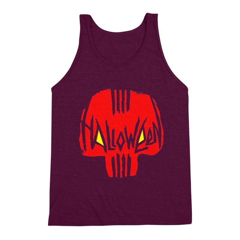 Red skull Men's Triblend Tank by artfanat.shop