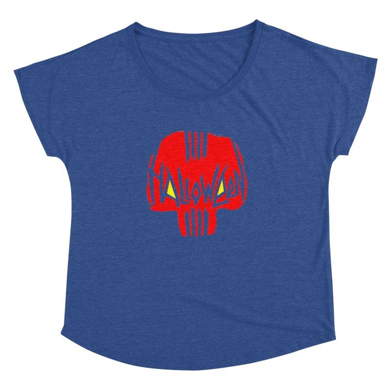 Red skull Women's Dolman Scoop Neck by artfanat.shop