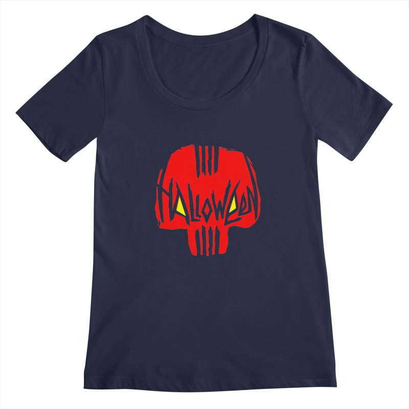 Red skull Women's Regular Scoop Neck by artfanat.shop