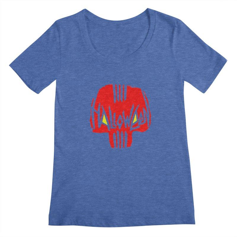 Red skull Women's Scoopneck by artfanat.shop