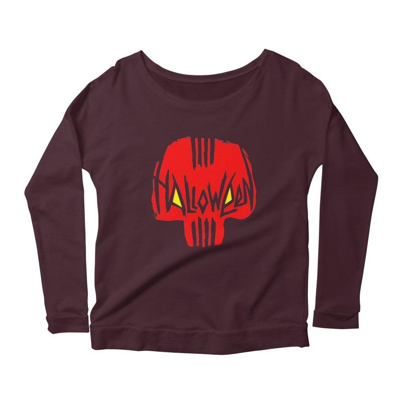 Red skull Women's Longsleeve Scoopneck  by artfanat.shop