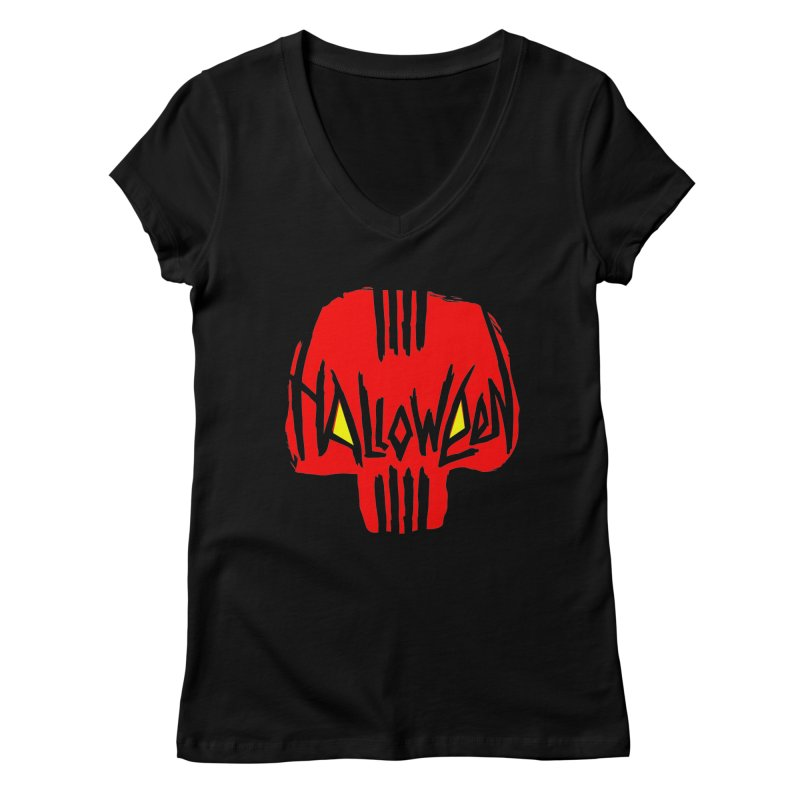 Red skull Women's V-Neck by artfanat.shop