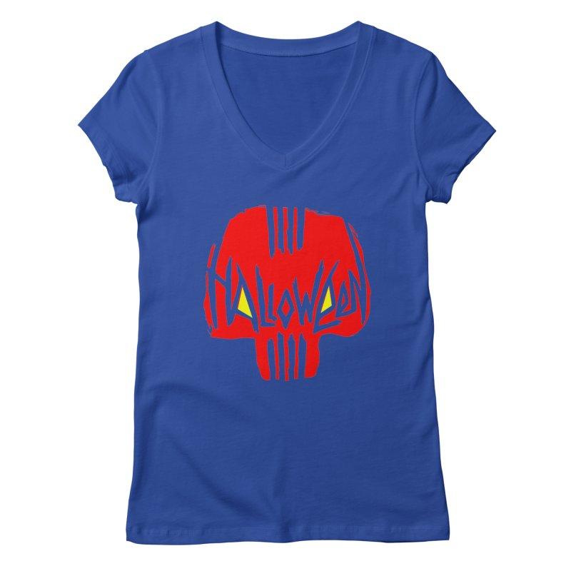 Red skull Women's Regular V-Neck by artfanat.shop