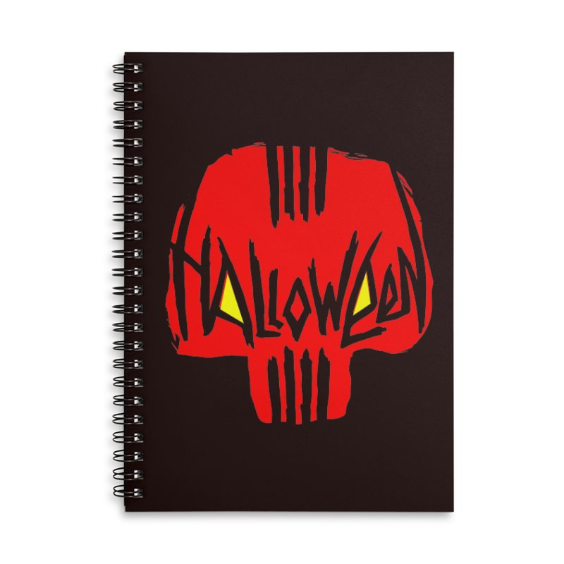 Red skull Accessories Lined Spiral Notebook by artfanat.shop