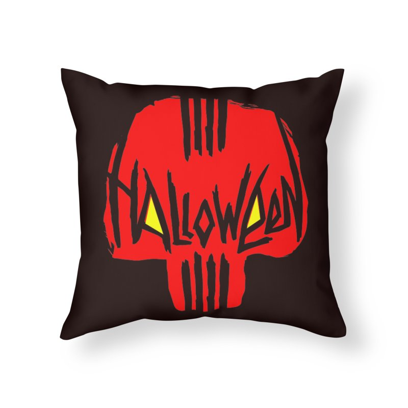 Red skull Home Throw Pillow by artfanat.shop