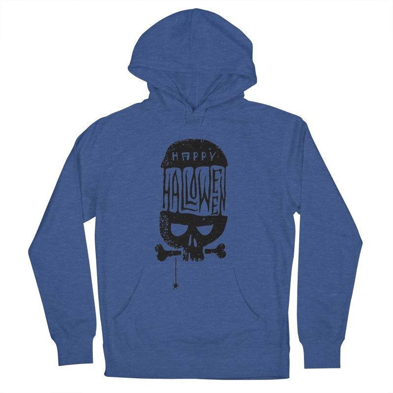 Black skull  Men's Pullover Hoody by artfanat.shop