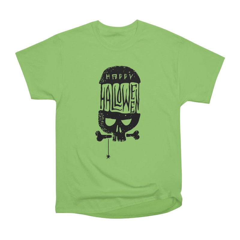 Black skull  Women's Heavyweight Unisex T-Shirt by artfanat.shop