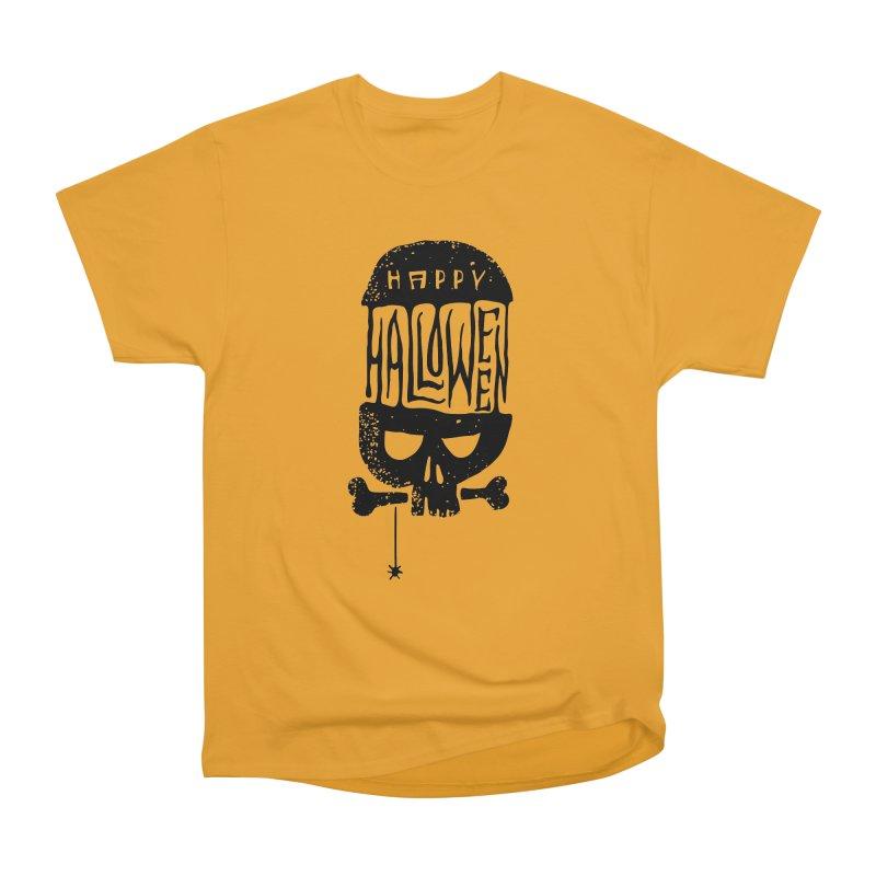 Black skull  Men's Heavyweight T-Shirt by artfanat.shop
