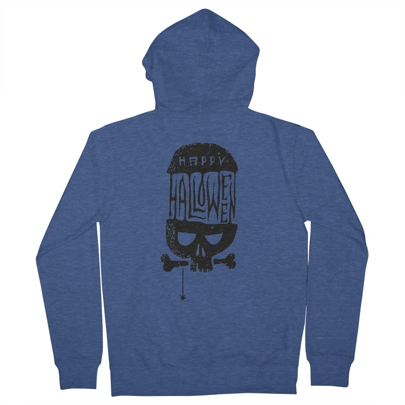 Black skull  Men's French Terry Zip-Up Hoody by artfanat.shop