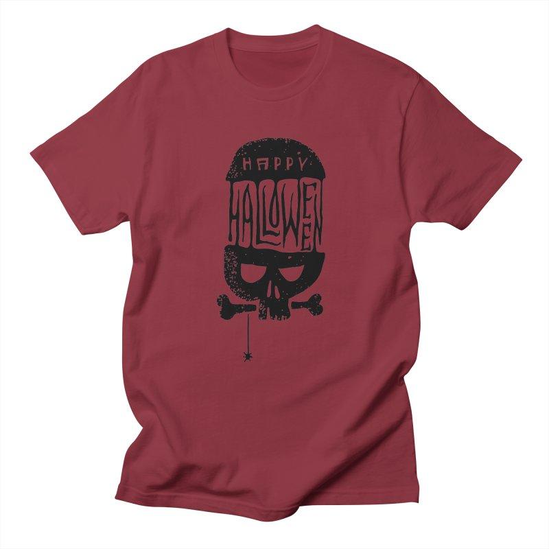 Black skull  Women's Unisex T-Shirt by artfanat.shop