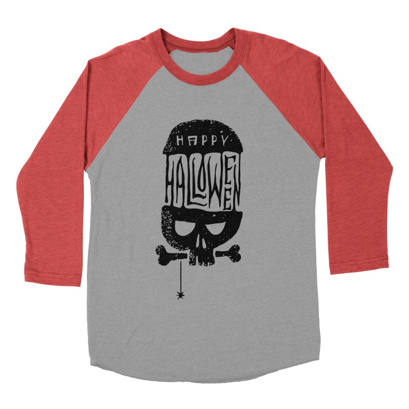 Black skull  Women's Baseball Triblend Longsleeve T-Shirt by artfanat.shop