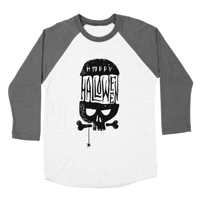 Black skull  Men's Baseball Triblend Longsleeve T-Shirt by artfanat.shop