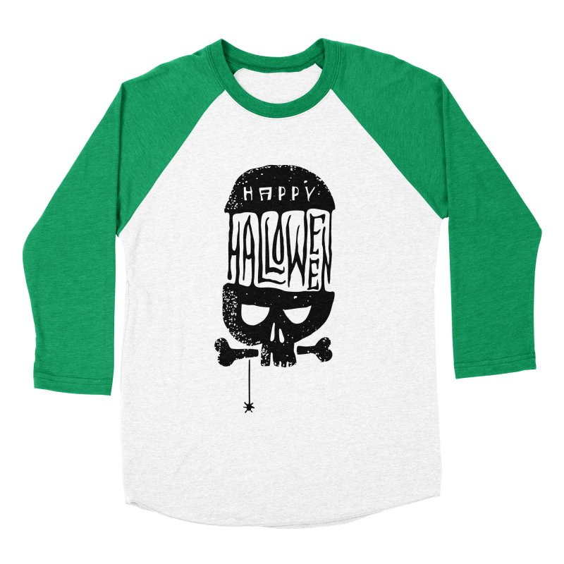 Black skull  Men's Baseball Triblend T-Shirt by artfanat.shop