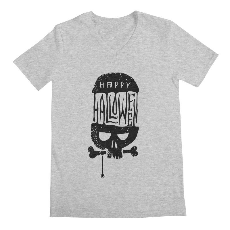 Black skull  Men's Regular V-Neck by artfanat.shop