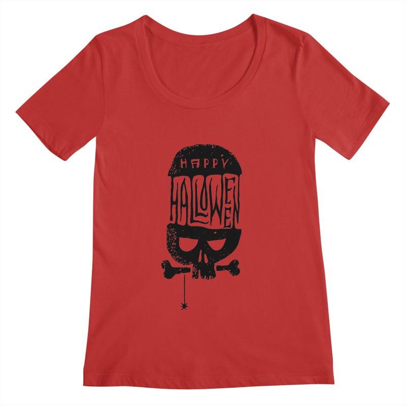 Black skull  Women's Regular Scoop Neck by artfanat.shop