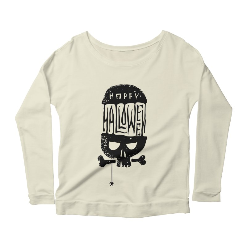 Black skull  Women's Scoop Neck Longsleeve T-Shirt by artfanat.shop
