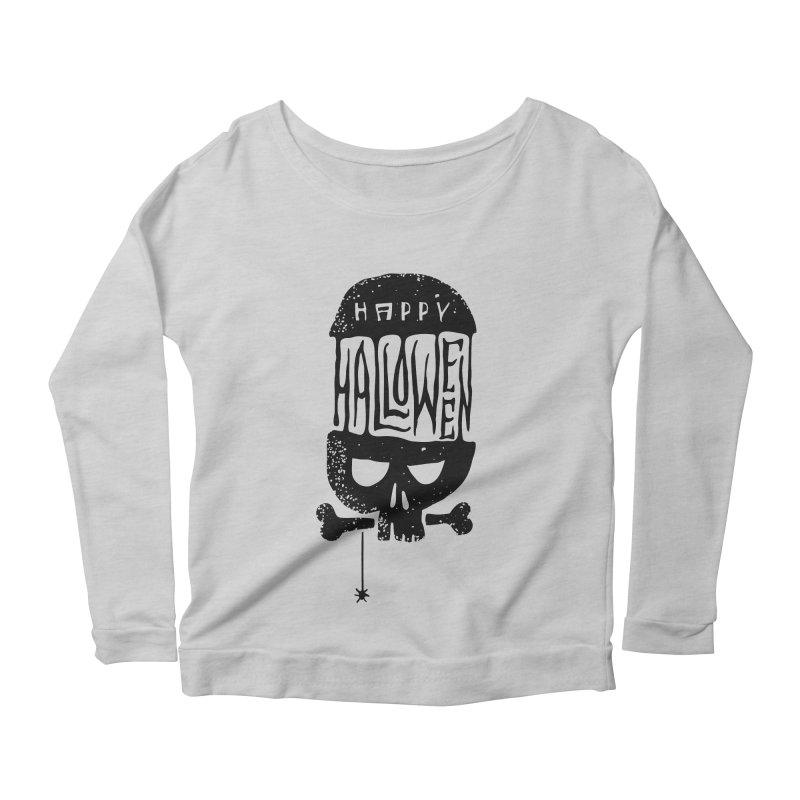 Black skull  Women's Scoop Neck Longsleeve T-Shirt by artfanat.shop