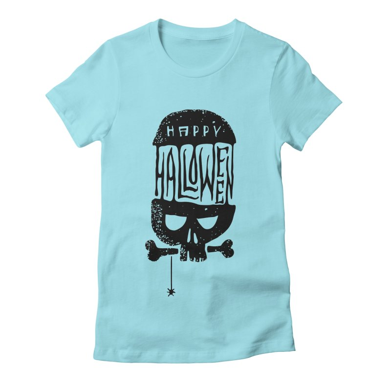 Black skull  Women's Fitted T-Shirt by artfanat.shop