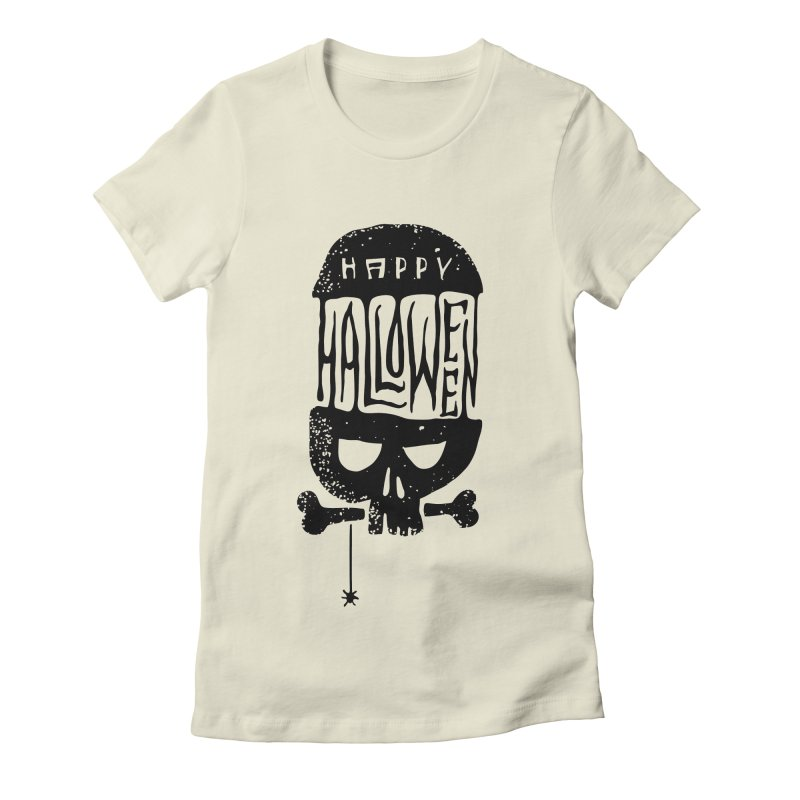 Black skull  Women's Fitted T-Shirt by artfanat.shop