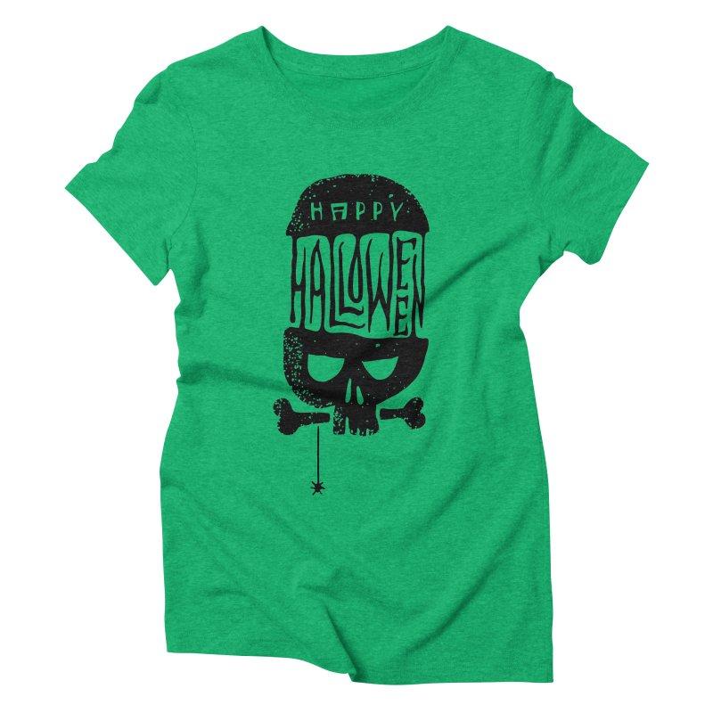 Black skull  Women's Triblend T-Shirt by artfanat.shop