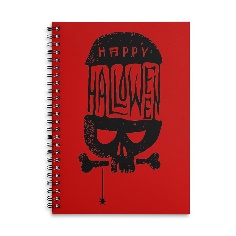 Black skull  Accessories Lined Spiral Notebook by artfanat.shop
