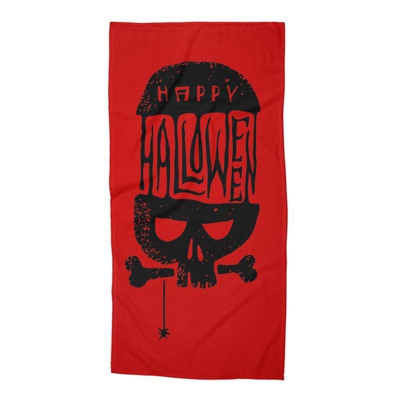 Black skull  Accessories Beach Towel by artfanat.shop