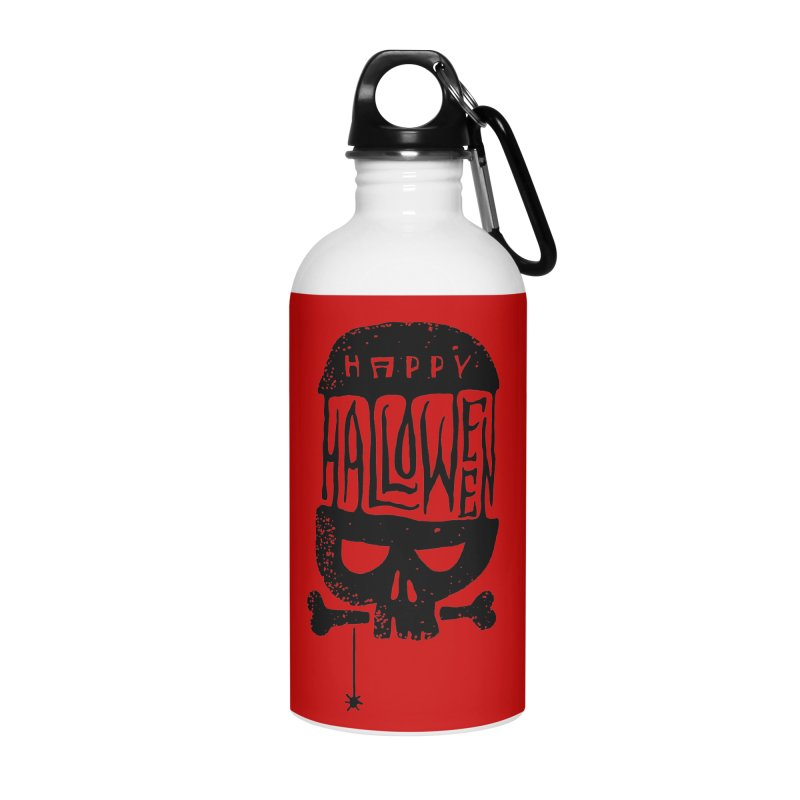 Black skull  Accessories Water Bottle by artfanat.shop