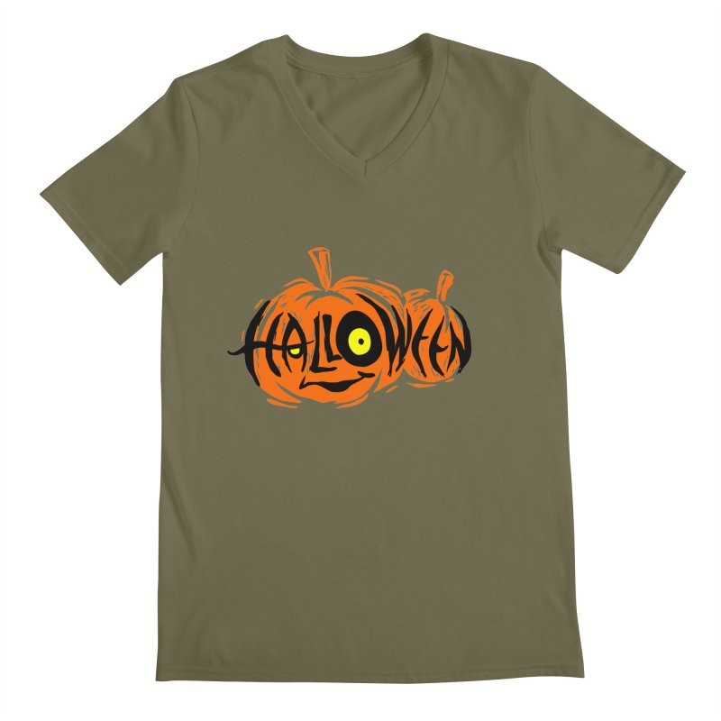 Pumpkin Men's Regular V-Neck by artfanat.shop
