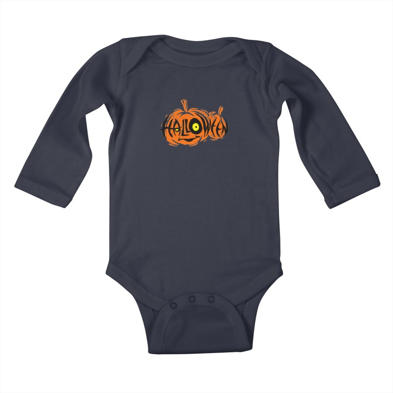 Pumpkin Kids Baby Longsleeve Bodysuit by artfanat.shop