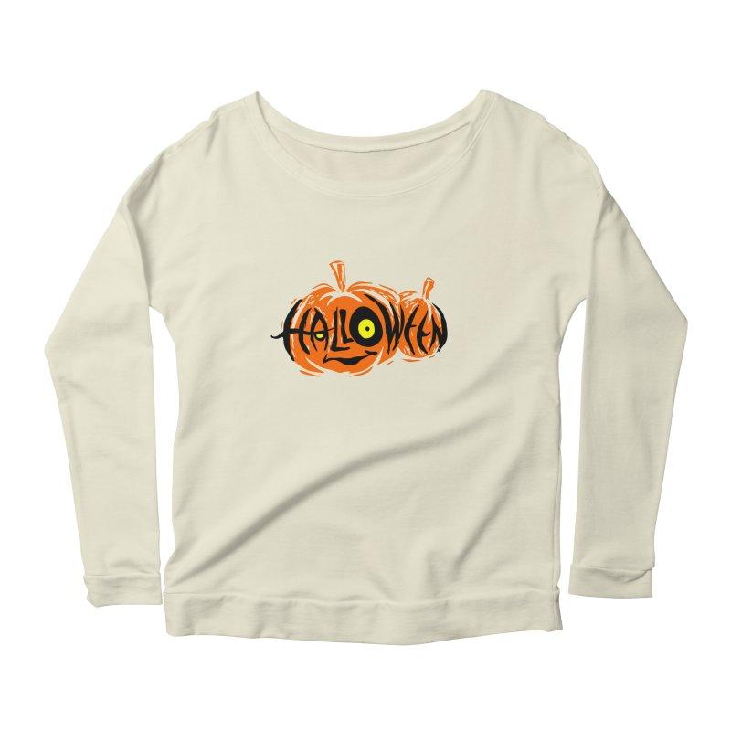 Pumpkin Women's Longsleeve Scoopneck  by artfanat.shop