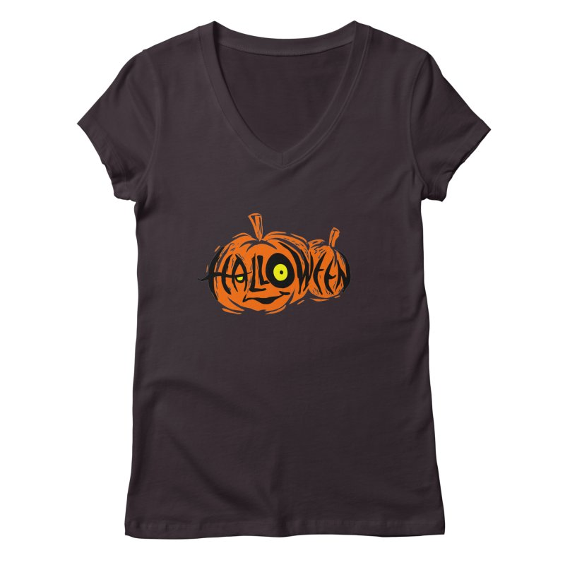 Pumpkin Women's V-Neck by artfanat.shop