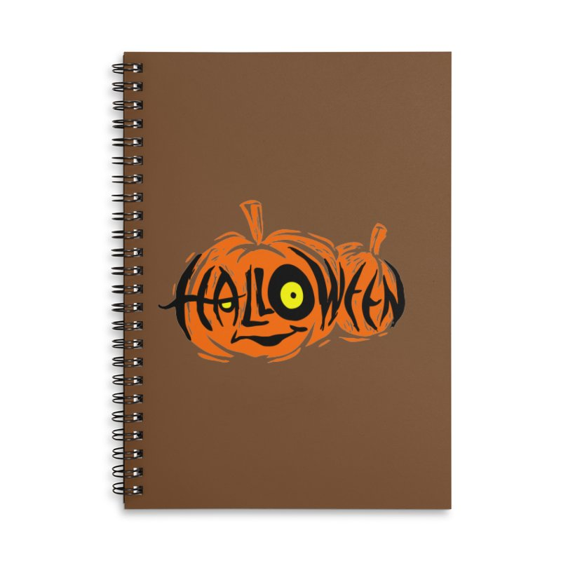 Pumpkin Accessories Lined Spiral Notebook by artfanat.shop