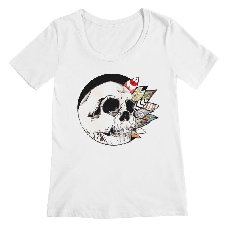 Indie Skull Women's Regular Scoop Neck by artichoke's Artist Shop