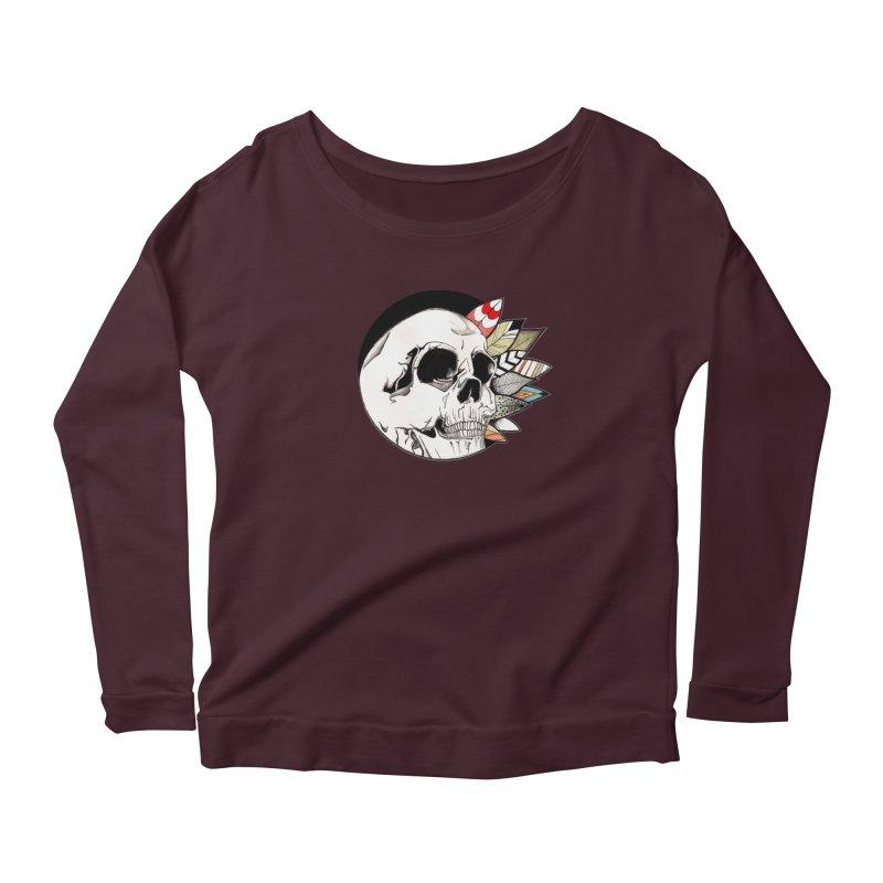 Indie Skull Women's Scoop Neck Longsleeve T-Shirt by artichoke's Artist Shop