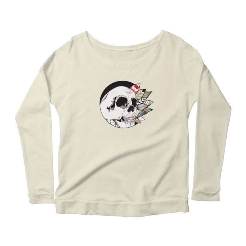 Indie Skull Women's Longsleeve Scoopneck  by artichoke's Artist Shop