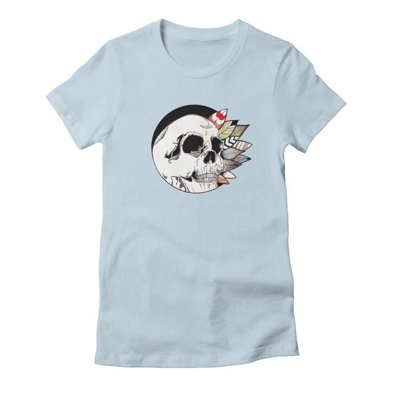 Indie Skull Women's Fitted T-Shirt by artichoke's Artist Shop