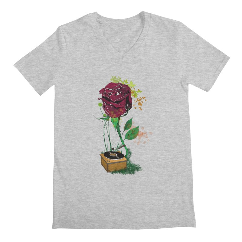 Gramophone Rose Men's V-Neck by artichoke's Artist Shop