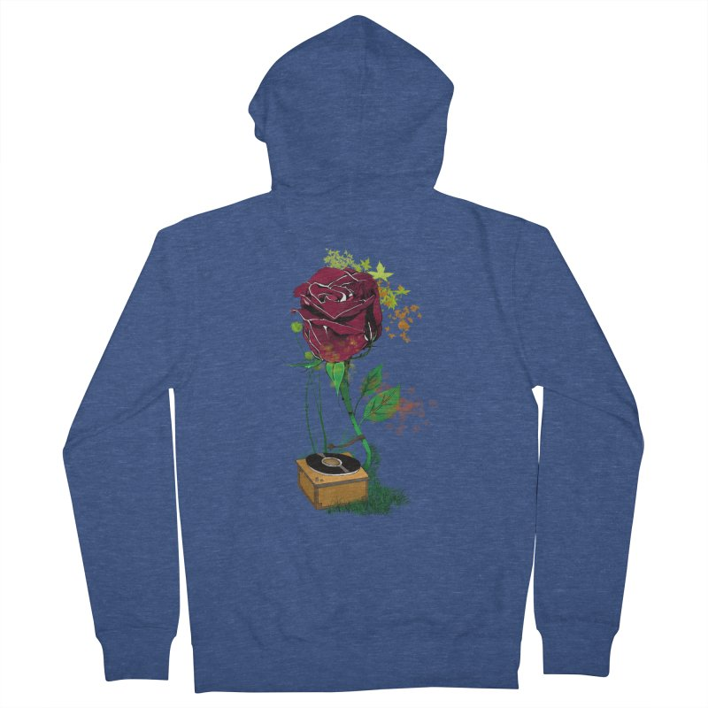 Gramophone Rose Women's French Terry Zip-Up Hoody by artichoke's Artist Shop