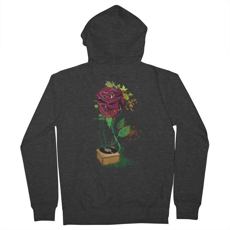 Gramophone Rose Men's French Terry Zip-Up Hoody by artichoke's Artist Shop