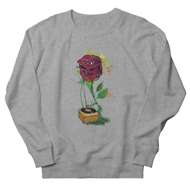 Gramophone Rose Men's French Terry Sweatshirt by artichoke's Artist Shop
